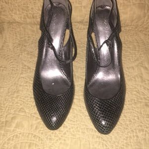 Metallic grey fake snakeskin leather shoes